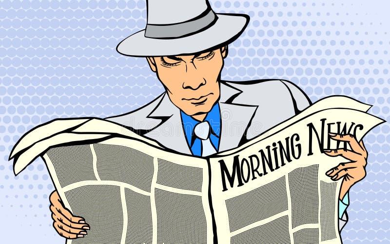 De mens leest een nieuwsdocument royalty-vrije illustratie