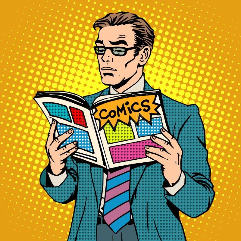 De mens leest grappig boek stock illustratie