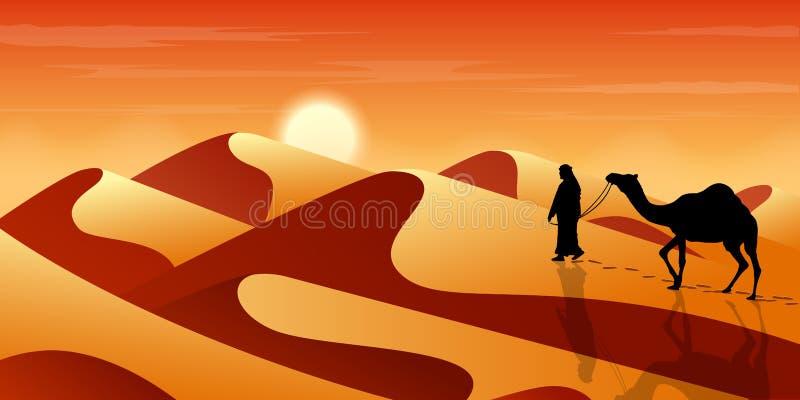 De mens leidt een kameel door de woestijn Exotisch Landschap Zand en duinen Toerisme en het reizen stock illustratie