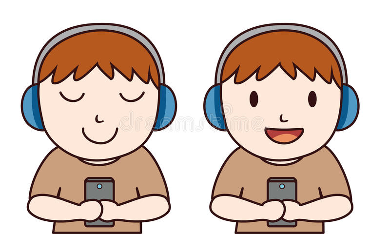 De mens luistert muziek met hoofdtelefoon royalty-vrije illustratie