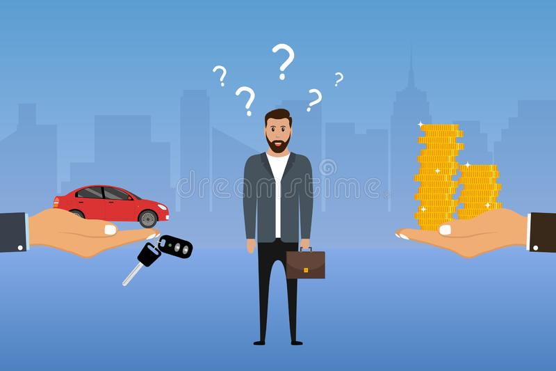 De mens maakt een keus tussen een auto en een geld De zakenman kiest opties De koper beslist een auto of niet te kopen Vector stock illustratie