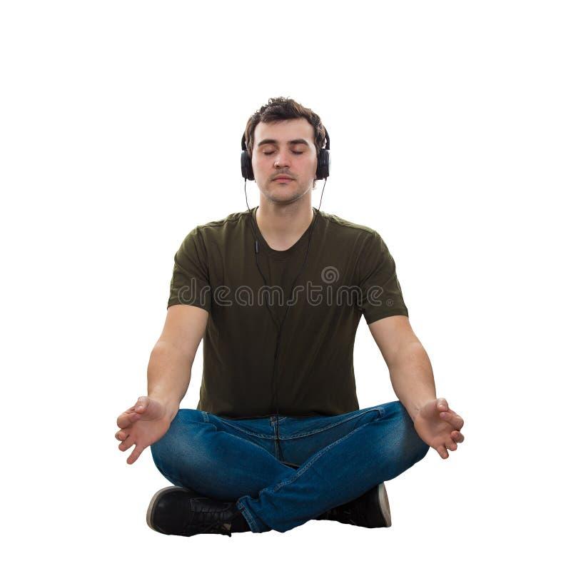 De mens mediteert royalty-vrije stock foto's