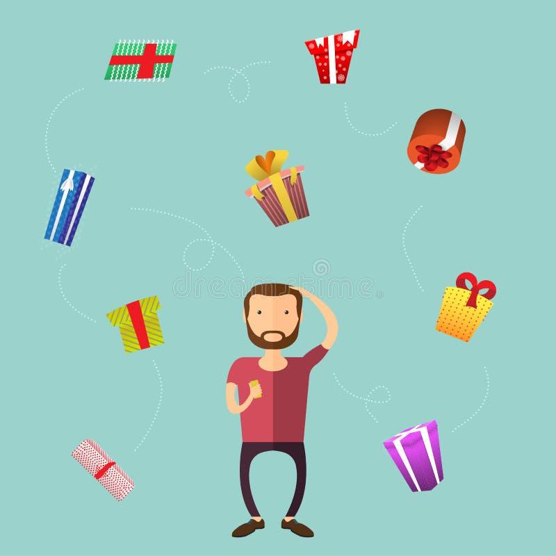 De mens met baard kiest een gift voor de vakantie royalty-vrije illustratie
