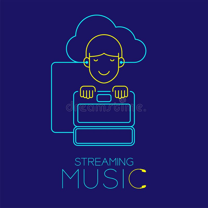 De mens met oortelefoonwolk verbindt, Laptop vorm van kabel wordt gemaakt, die de illustratie die van het muziekconceptontwerp st stock illustratie