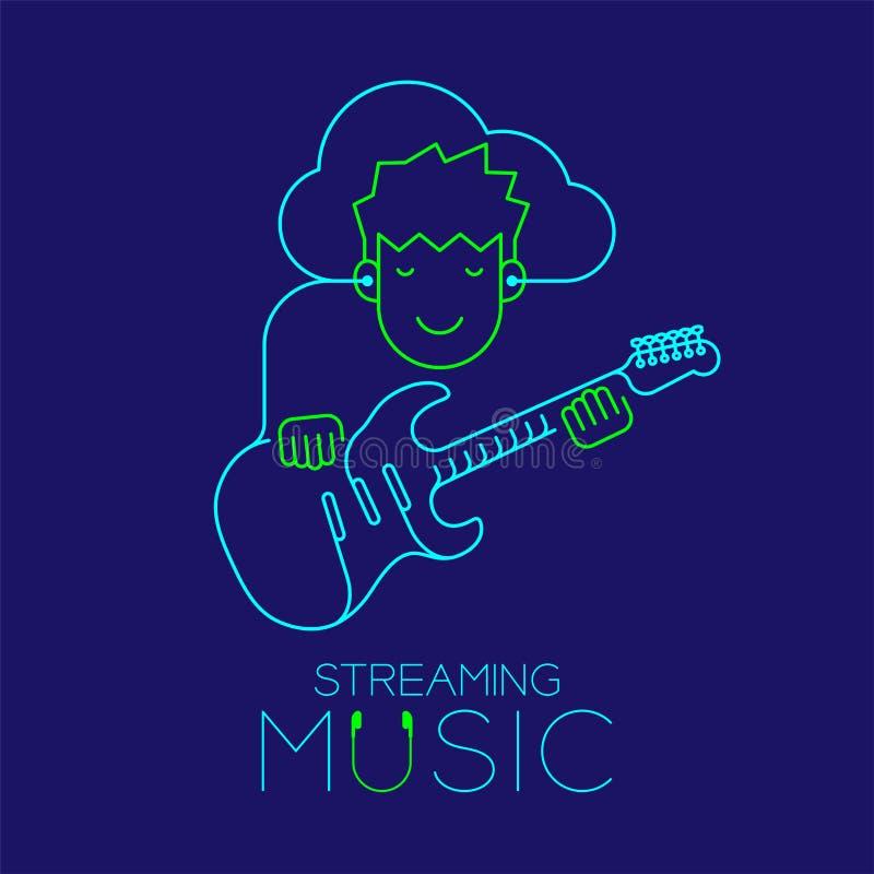 De mens met oortelefoonwolk verbindt smartphone, Elektrische die gitaarvorm van kabel wordt gemaakt, die de illustratie van het m vector illustratie