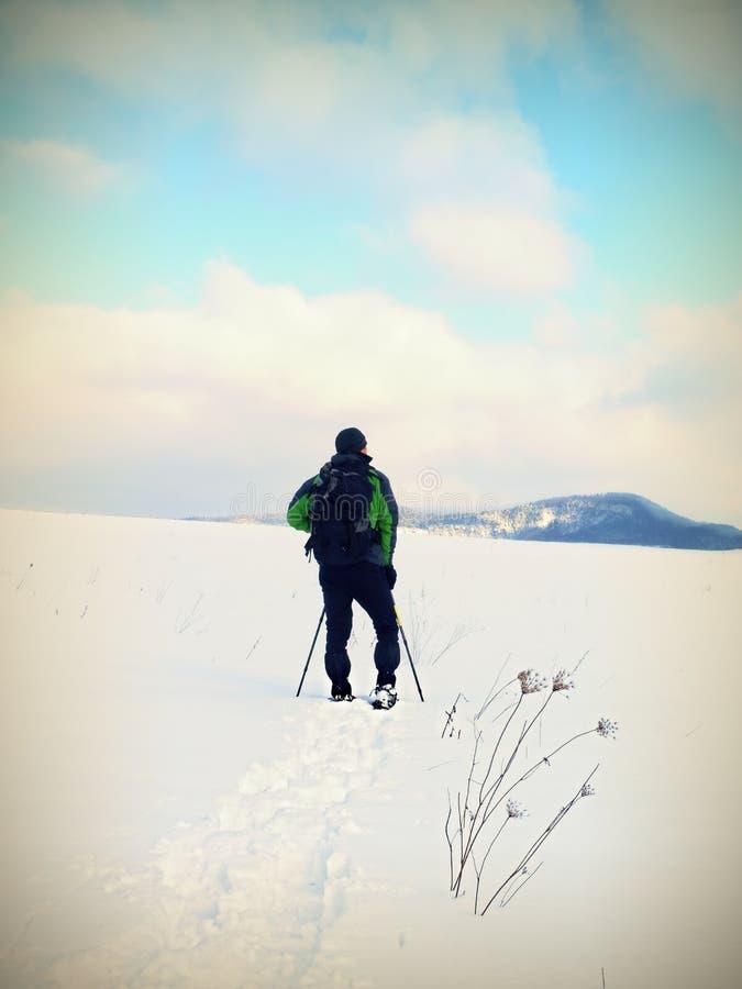 De mens met sneeuwschoenen neemt een rust in sneeuw Wandelaar het snowshoeing royalty-vrije stock foto