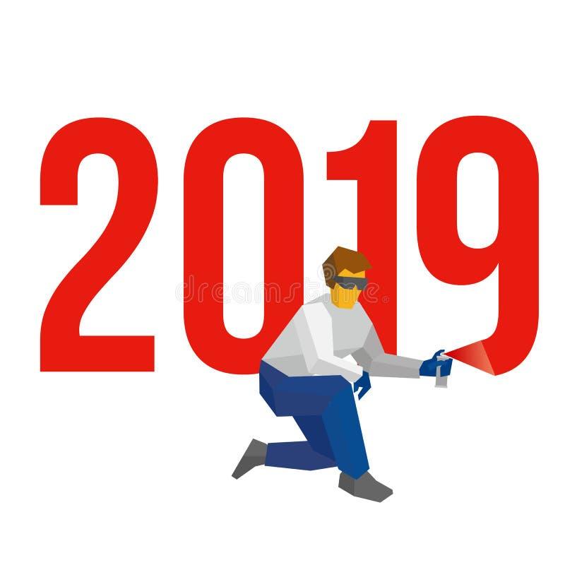 De mens met spuitbus schrijft nummer 2019 royalty-vrije illustratie