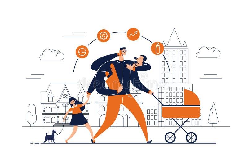 De mens met taakpictogrammen rond hoofd en verscheidene wapens vervoert pasgeboren kind, wandelwagen, zak met voedsel, bespreking vector illustratie