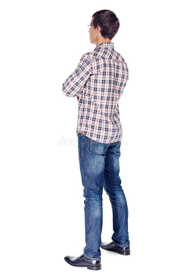 De mens met wapens kruiste volledig lichaam stock fotografie