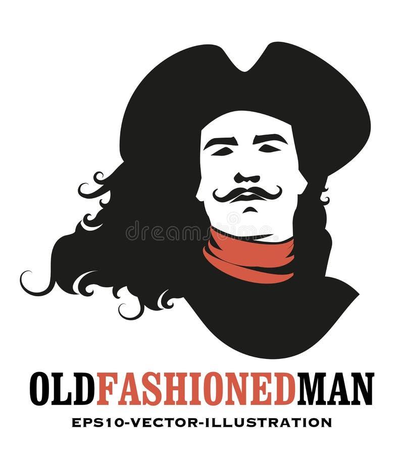 De mens mustached en snakt haar aan de wind, die een oude hoed van de achttiende of 19de eeuw dragen stock illustratie