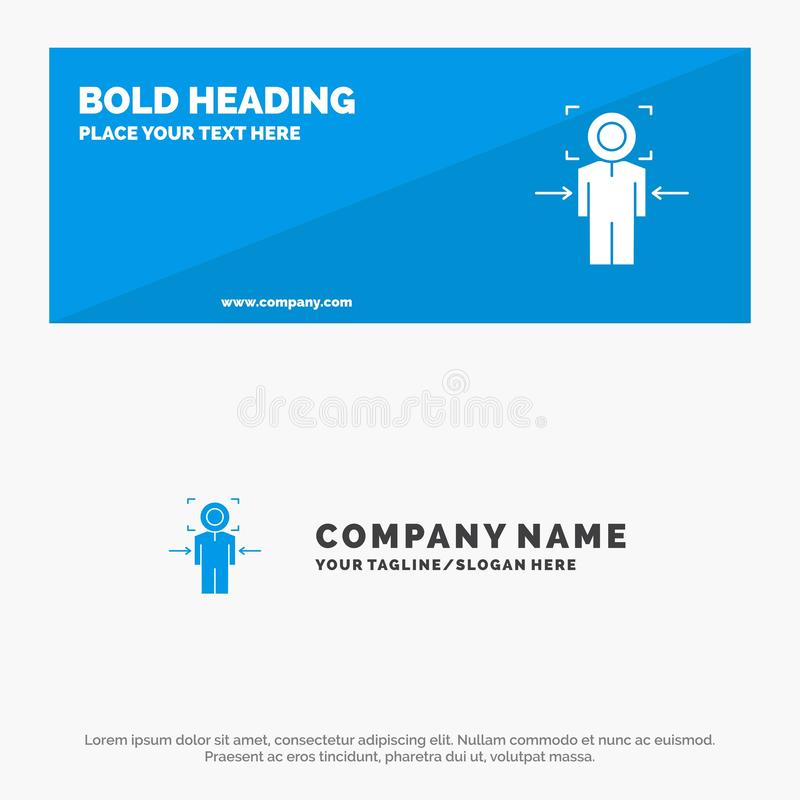 De mens, Nadruk, Doel, bereikt, de Websitebanner en Zaken Logo Template van het Doel Stevige Pictogram stock illustratie