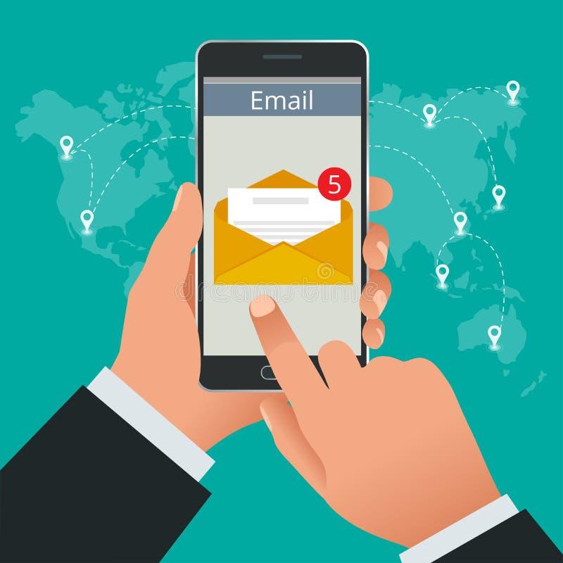 De mens ontving online een e-mail op een mobiele telefoon Bericht online Inkomend e-mail isometrisch vectorconcept receiving vector illustratie