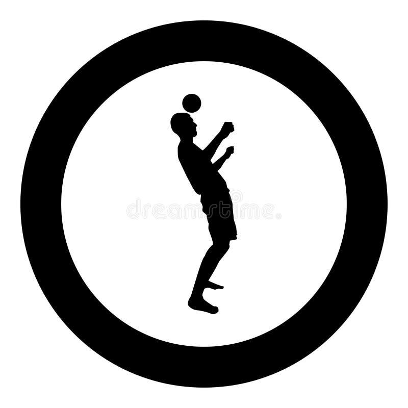 De mens schopt de bal op hoofd De voetballer onttrekt bal met zijn hoofdvoetbalconcept het Jongleren met truc met de zwarte kleur vector illustratie