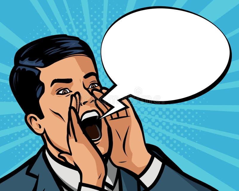 De mens schreeuwt luid Vectorillustratie in stijl grappig pop-art vector illustratie