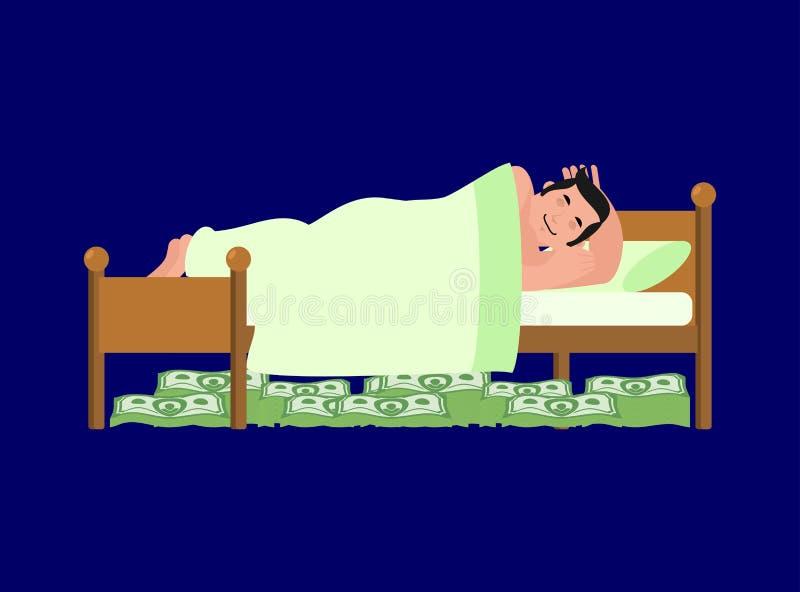 De mens slaapt op bed Geld onder bed, rijkdom Partij van contant geld L royalty-vrije illustratie