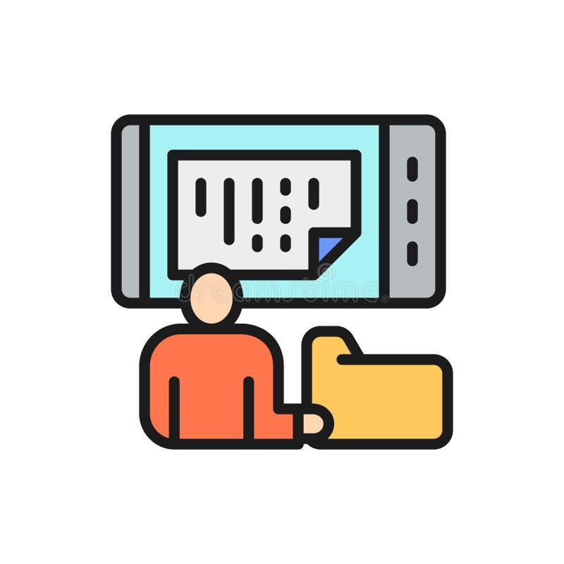 De mens slaat gegevens op een telefoon, online opslag, mobiel gegevensbestand het vlakke pictogram van de kleurenlijn op vector illustratie