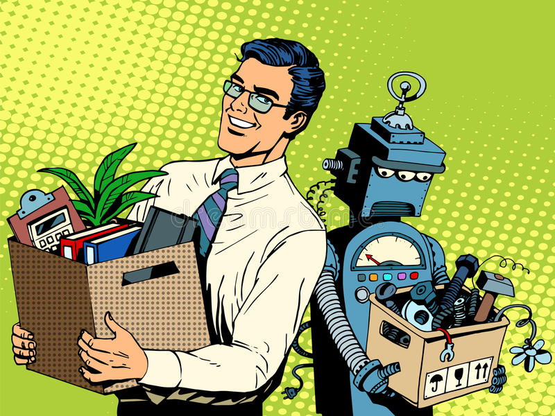 De mens slaat robot bedrijfsconceptenkennis en stock illustratie