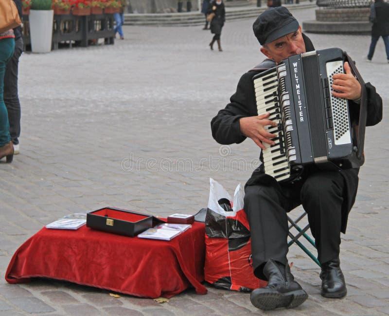 De mens speelt de harmonika bij het vierkante bijna Koninklijke Kasteel in Warshau royalty-vrije stock foto's