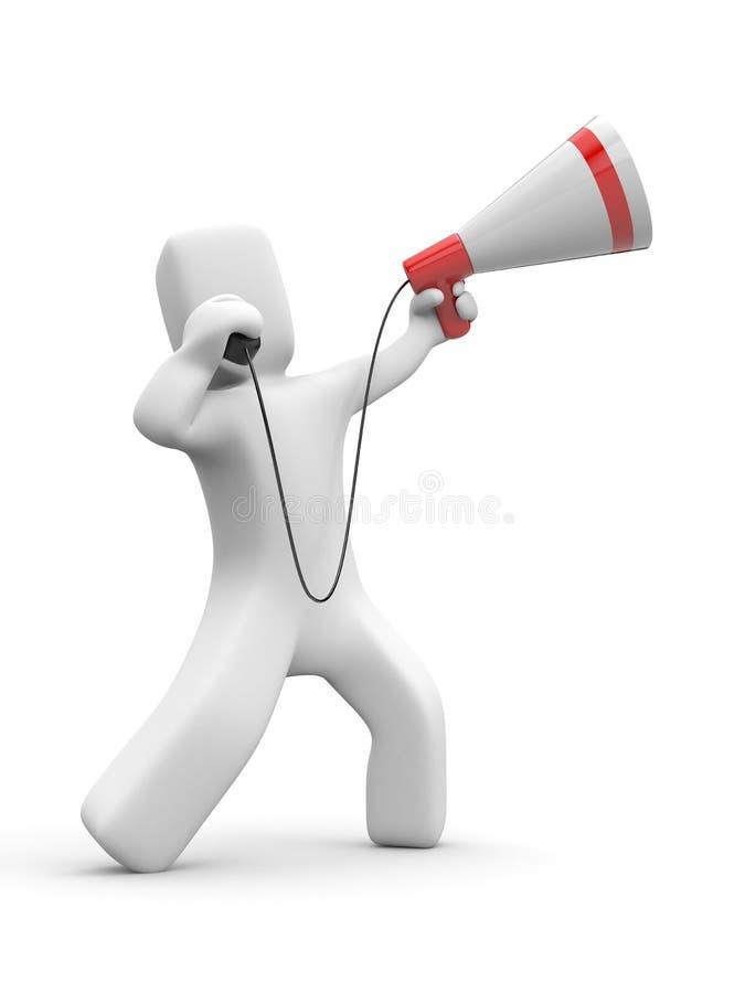 De mens spreekt in megafoon royalty-vrije illustratie