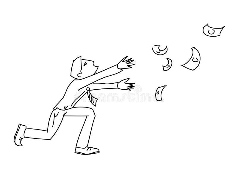 De mens stelt geldvlieg in werking de weg vectorillustratie volgt stock illustratie