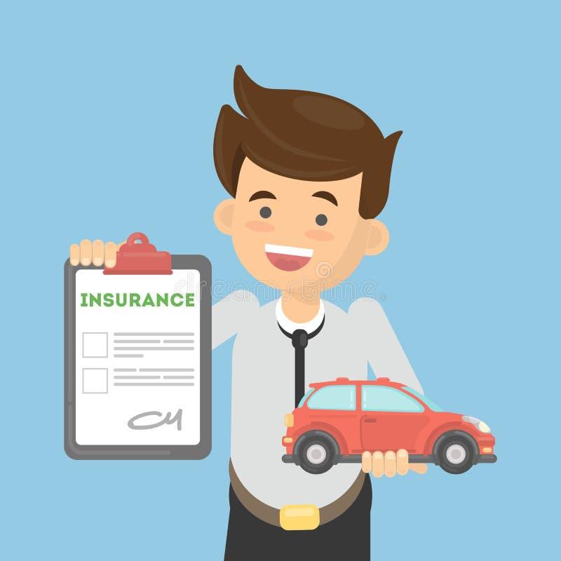 De mens toont autoverzekering stock illustratie