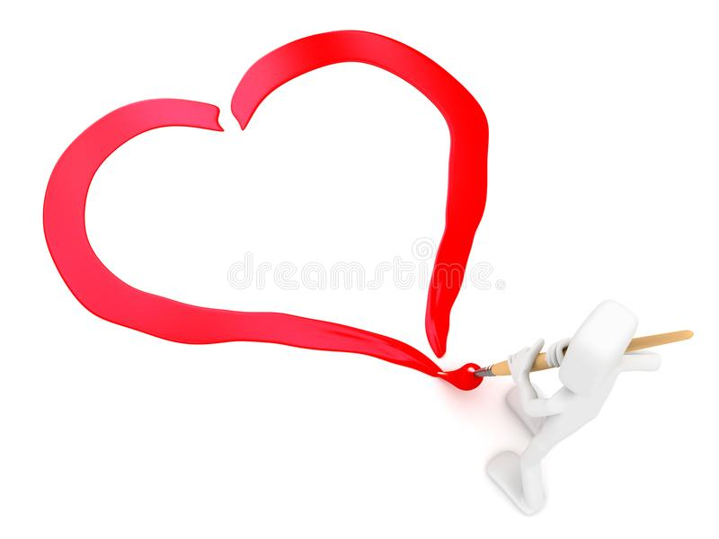 De mens trekt het hart vector illustratie