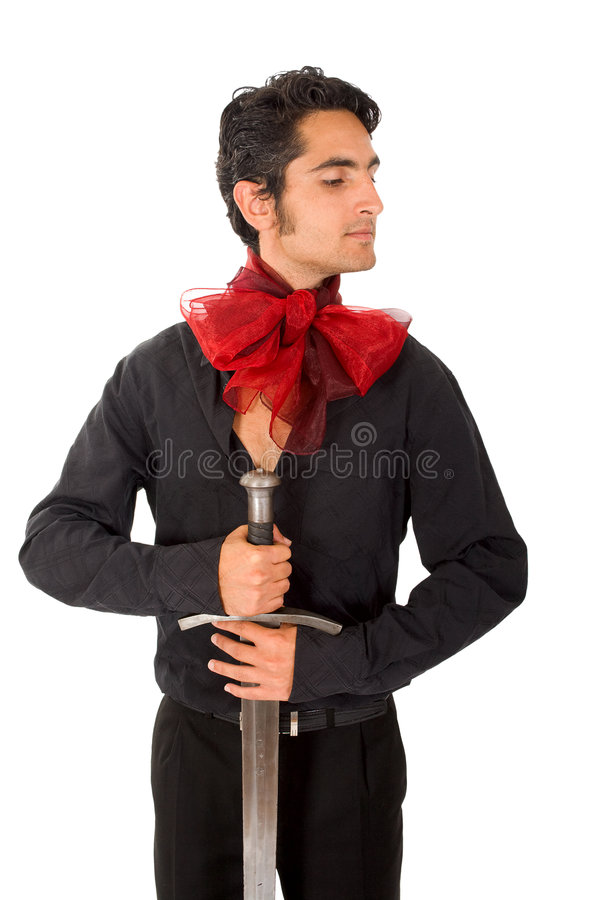 De mens van de aantrekkingskracht met zwaard en boog. royalty-vrije stock foto