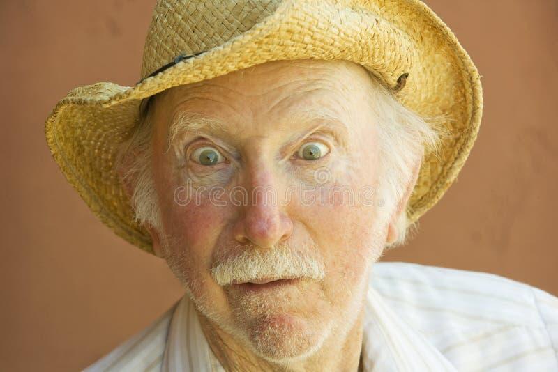 De Mens van de bejaarde in een Hoed van de Cowboy stock foto's