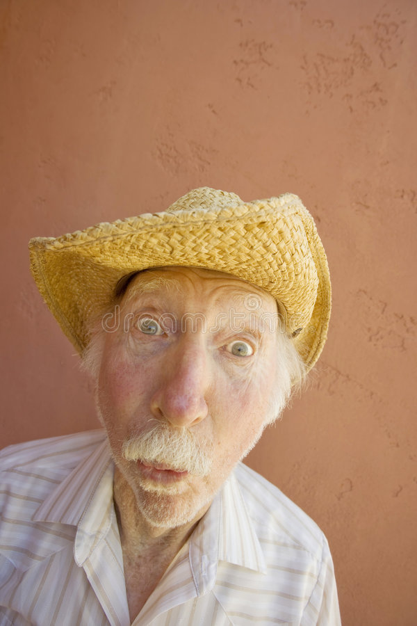 De Mens van de bejaarde in een Hoed van de Cowboy stock foto