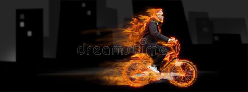 De mens van de fiets stock foto