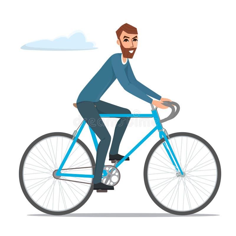 De mens van de fietserruiter hipster met de illustratie van de fietsfiets royalty-vrije illustratie