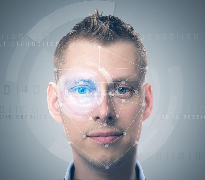 De mens van de gezichtscontrole stock fotografie