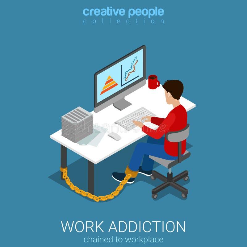 De mens van de het werkverslaving het werk computer vlak 3d isometrische vector royalty-vrije illustratie
