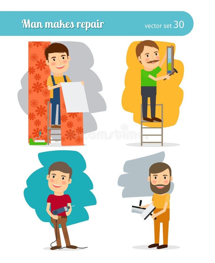 De Mens van de huisreparatie vector illustratie