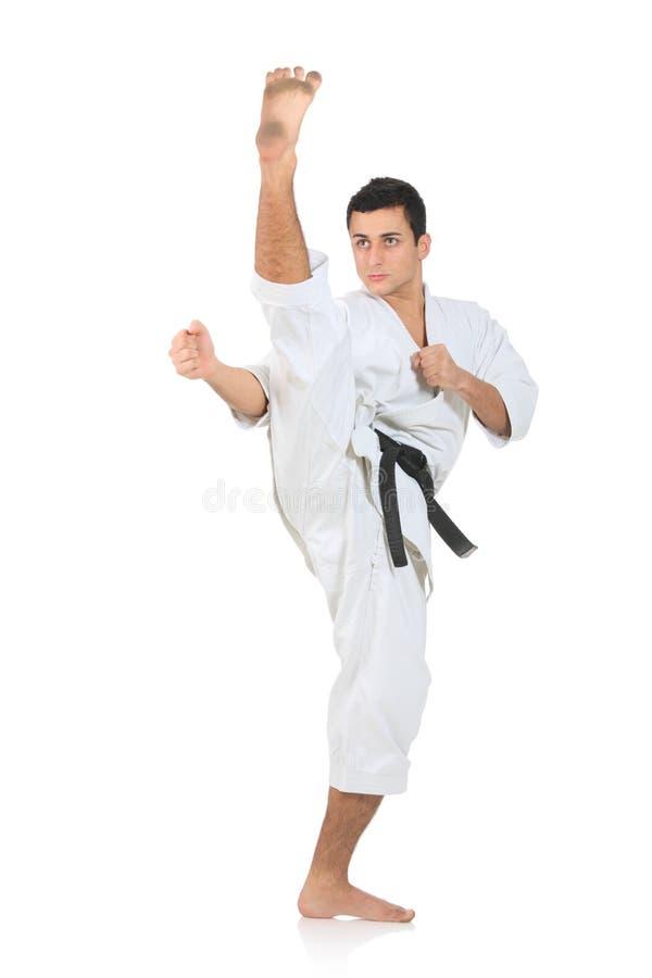 De mens van de karate het uitoefenen stock foto