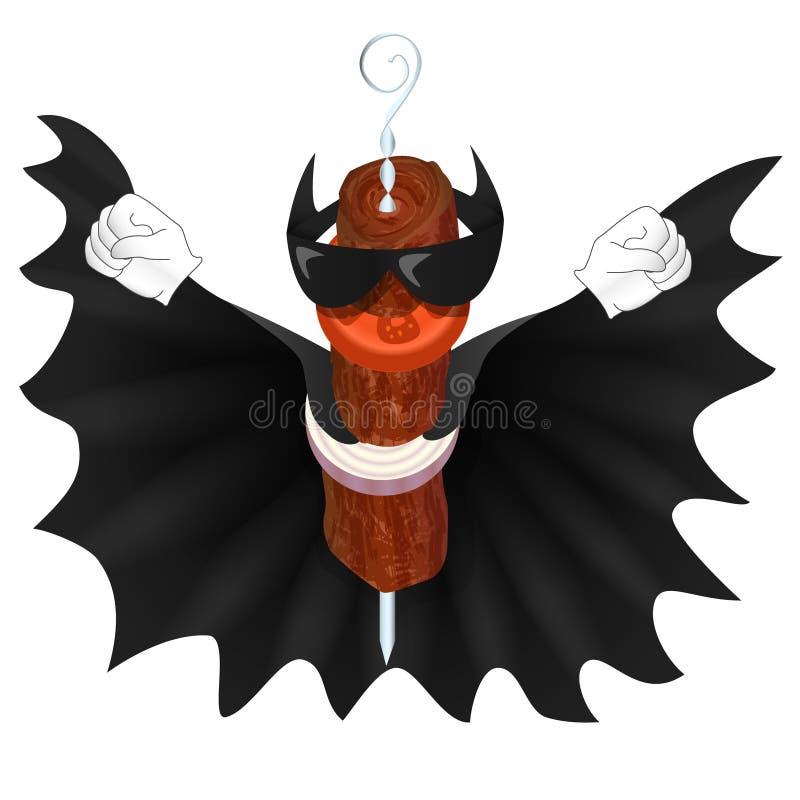 De mens van de knuppelkebab in zwarte mantel vector illustratie