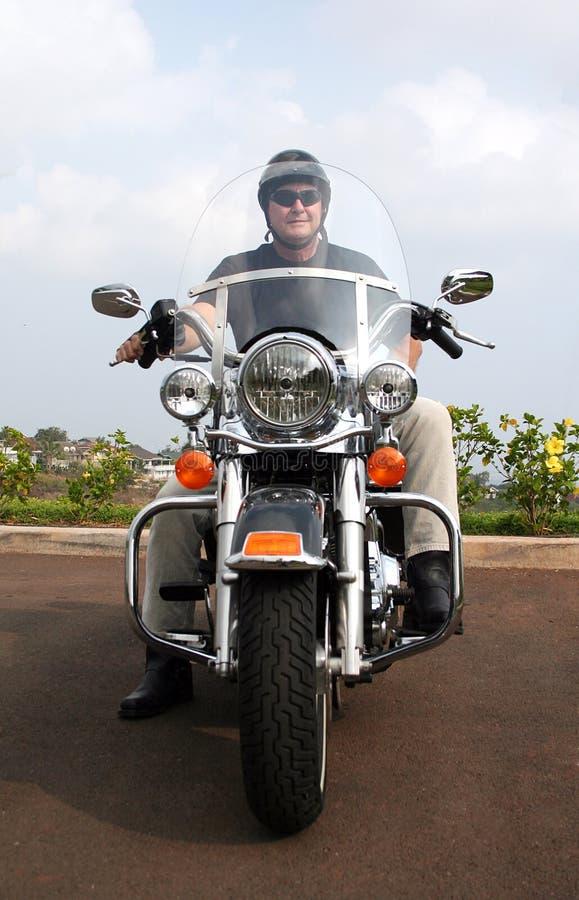 De Mens van de motorfiets stock foto