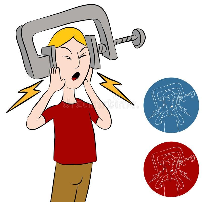 De Mens van de Ondeugd van de hoofdpijn stock illustratie