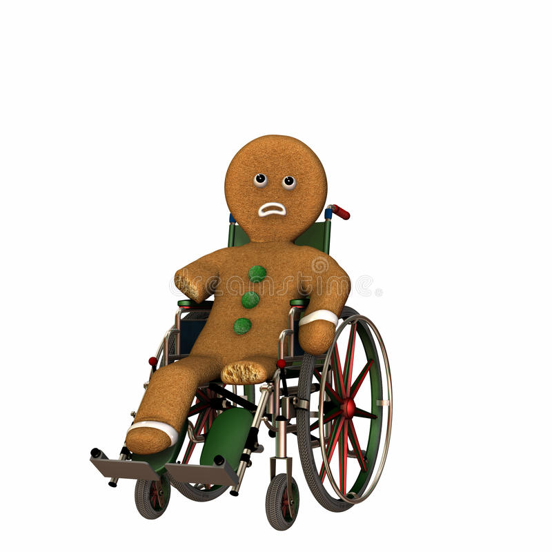 De mens van de peperkoek in Rolstoel vector illustratie