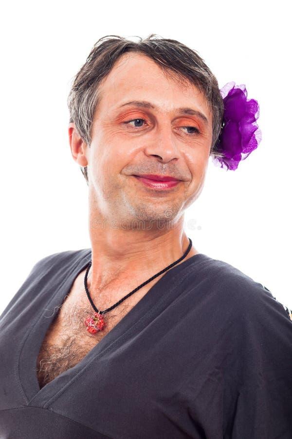 De mens van de travestiet het glimlachen stock afbeeldingen