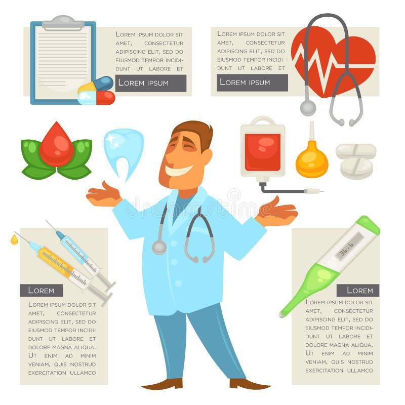 De mens van het artsenkarakter met Medische Geplaatste Pictogrammen royalty-vrije illustratie