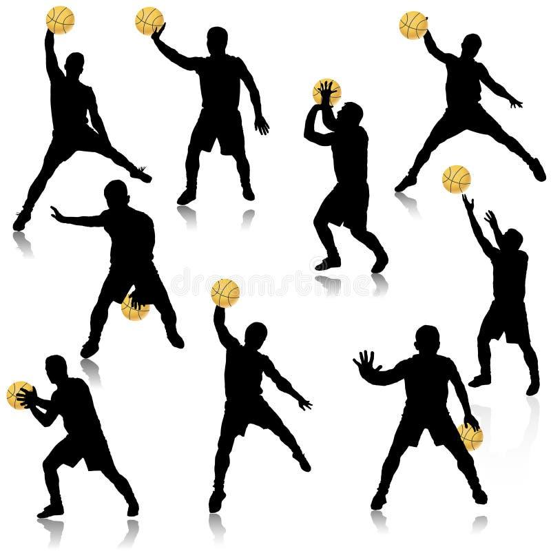 De mens van het basketbal in de reeks van het actiesilhouet stock illustratie