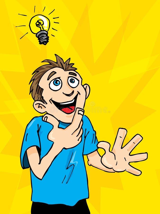 De mens van het beeldverhaal krijgt een helder idee. stock illustratie
