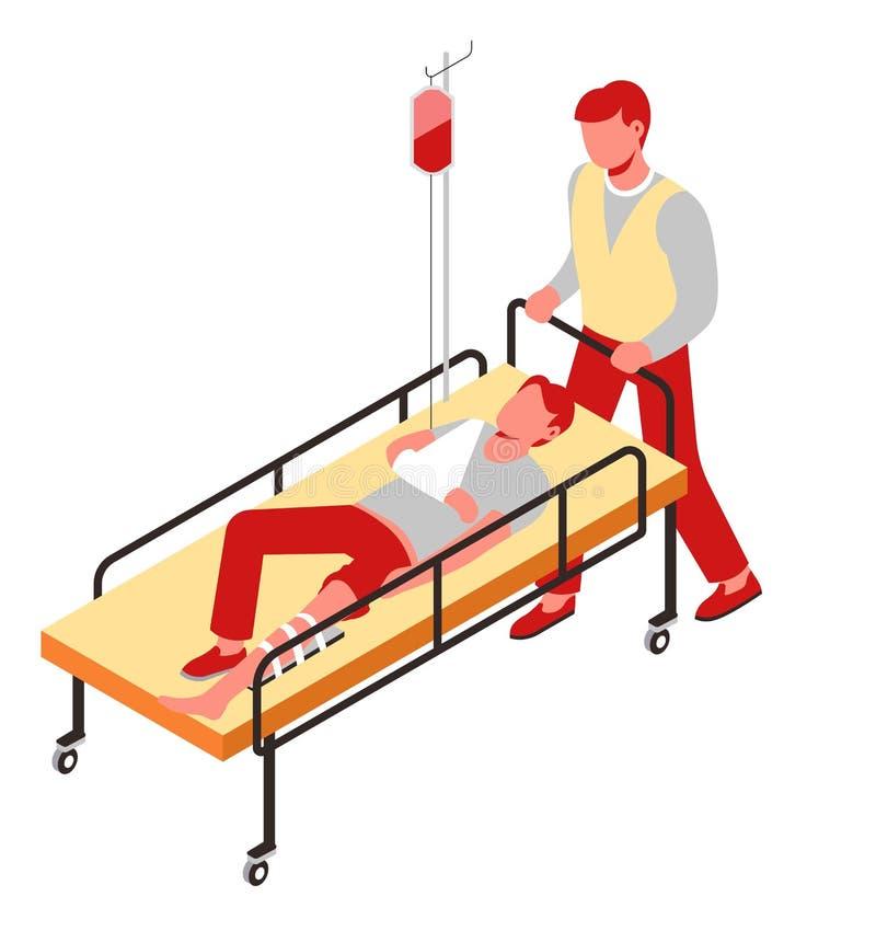 De mens van de het beenbreuk van de verwondingseerste hulp op gurney met druppelbuisje vector illustratie