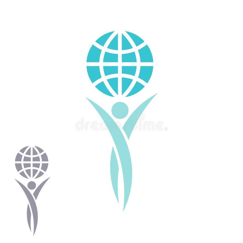 De mens van het bolembleem overhandigt samen op planeet, het creatieve idee van het voltooiingssucces, sparen Aardeembleem royalty-vrije illustratie