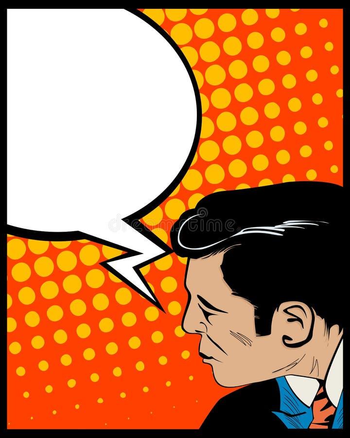 De mens van het de bellenpop-art van de toespraak royalty-vrije illustratie