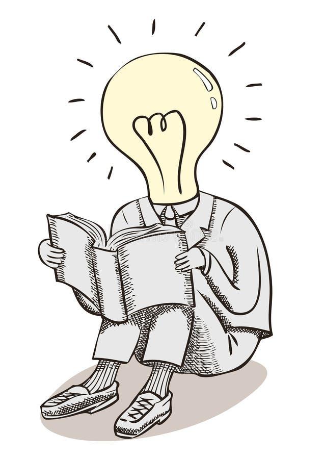 De mens van het gloeilampenogenblik Hersenenmacht en grote ideeën stock illustratie