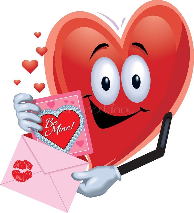 De Mens van het hart met de kaart van de Valentijnskaart royalty-vrije stock foto's