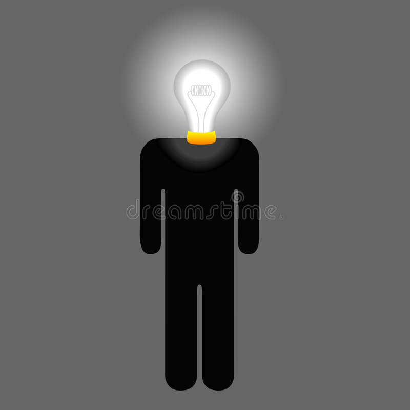 De Mens van het Idee van Lightbulb vector illustratie