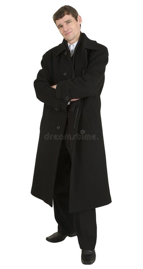 De mens van het portret in zwarte laag stock foto's